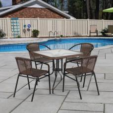 Комплект мебели Николь-2B TLH-037BR2/080SR-80х80 Brown (4+1)
