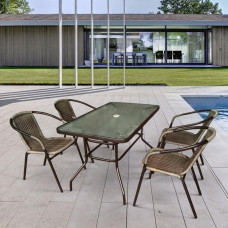Комплект мебели Николь-3A TLH-037BR2/CDT016-120х70 Brown (4+1)