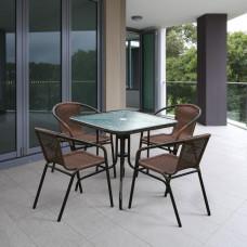 Комплект мебели Николь-2A TLH-037AR3/080SR-80х80 Cappuccino (4+1)