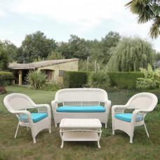 Комплект плетеной мебели LV130 White/Blue